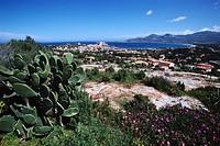 The town of Calvi stands along Calvi Bay in Corsica, France.