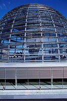 Spiraling walkways circle a mirrored pillar in the Reichstag´s glass dome. The dome was added by architect Norman Foster in his restoration of the par...