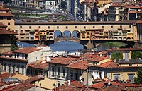 europe,italy,tuscany,florence,Ponte Vecchio and Arno river.