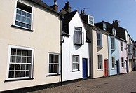 Colourful terraced houses at quayside of Weymouth Harbour Dorset