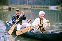Senior couple in a canoe
