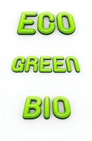 the word green , eco and bio in 3d glossy fonts
