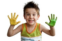 Children colored hands. Little boy hands.