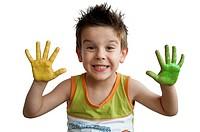 Children colored hands. Little boy hands.