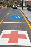 Ambulance and disabled reserved parking spaces, Isla de la Palma, Canary Islands, Spain