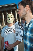 Paris, France, Occupy France, Indignants, Demonstration, French Young People Marching with Masks, Protesting Against Corporate Greed and Government In...