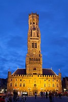 belfry, illuminated at night, Bruges, Belgium