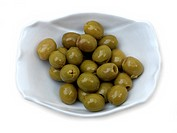 Green Pitted Olives In A Bowl