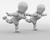 3D render of figure skaters dancing on ice