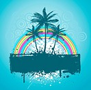 Palm trees with rainbow on grunge