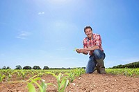 Portrait of smiling farmer holding corn seedling in field