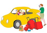 Dog sitting on driver´s seat in yellow car, man loading suitcases into trunk, illustration
