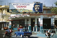 Che Guevara Poster above Cuban Service Station
