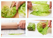 Cabbage wraps being prepared
