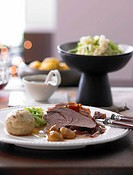 Roast venison with Tyrol bacon and bread dumplings