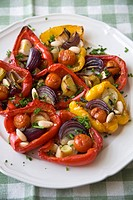 Roasted Bell Peppers Stuffed with Veggies on a Platter