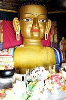 Buddha statue inside Shey Gompa, buddhist monastery, in Ladakh, India