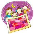 Family sleeping in one quilt at night
