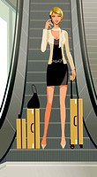 A woman with her luggage at the escalators