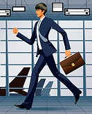 businessman walking briskly
