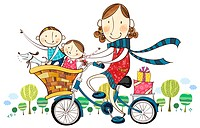 Mother & children on bicycle