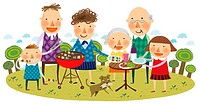 portrait of large family at picnic