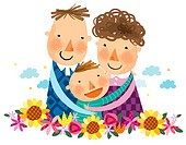portrait of happy family with one boy child