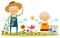 Elderly couple doing gardening