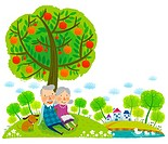 Elderly couple sitting under tree (thumbnail)