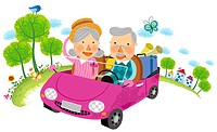 Elderly couple travelling on car