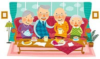 Elderly people meeting together for tea