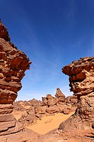 Natural rock formations in the Akakus Mountains, Sahara Desert, Libya
