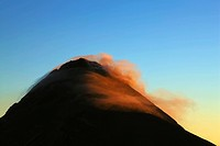 Fuego volcano against blue sky