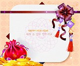 Chinese happy new year card with traditional element of china