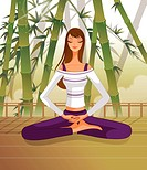 Woman sitting in lotus position, meditating (thumbnail)
