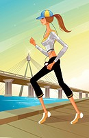 Woman listening to music while jogging (thumbnail)