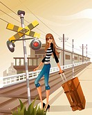 Woman with luggage standing by railroad crossing sign (thumbnail)