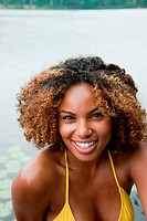 Portrait of young African American woman smiling