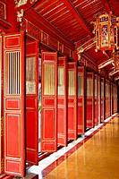 Red doors of Thai Hoa Palace, Hue, Vietnam