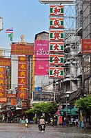 flooded high street, bangkok floodings, chinatown, bangkok, thailand
