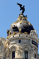 Spain, Madrid, Gran Via, Metropolis Palace, Detail Facade                                                                                             ...
