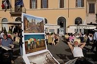 Italy, Lazio, Rome, Piazza Navona, painters ...