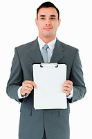 Businessman presenting his notes against a white background