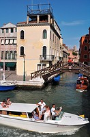 Venezia (Italy): speedboat along the Canal Grande, by the train station