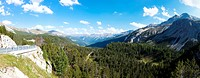 Panoramic view of the Mustair Valley in German Münstertal, in Italian Val Monastero from from Ofenpass in the Grigioni Province of Switzerland.