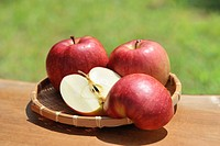 Apples piled in a colander in the outdoors