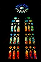 Stained glass windows  Sagrada Familia church, or Expiatory Church of the Holy Family, Barcelona, Catalonia, Spain