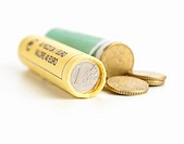 Rolls of Euro coins
