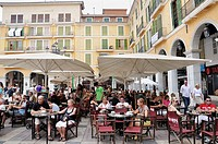 Plaza Mayor, an outdoor café, Palma De Mallorca, Spain, Europe