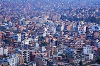 View over the city from Swayambhunath, the Monkey Temple, Kathmandu, Nepal